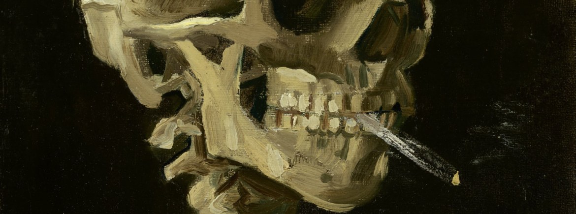 Van Gogh painting of a skeleton smoking